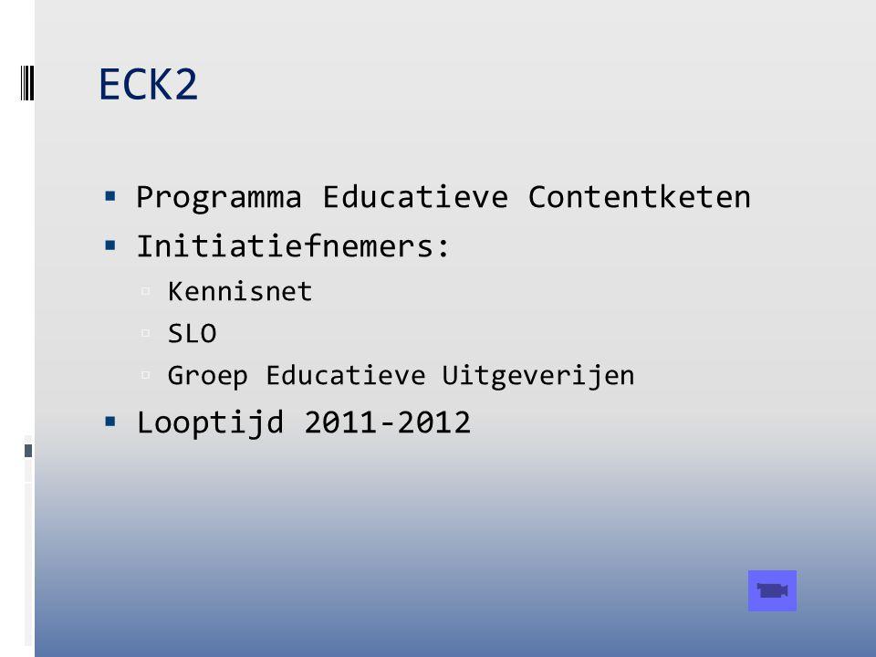 ECK2 Programma Educatieve Contentketen Initiatiefnemers: