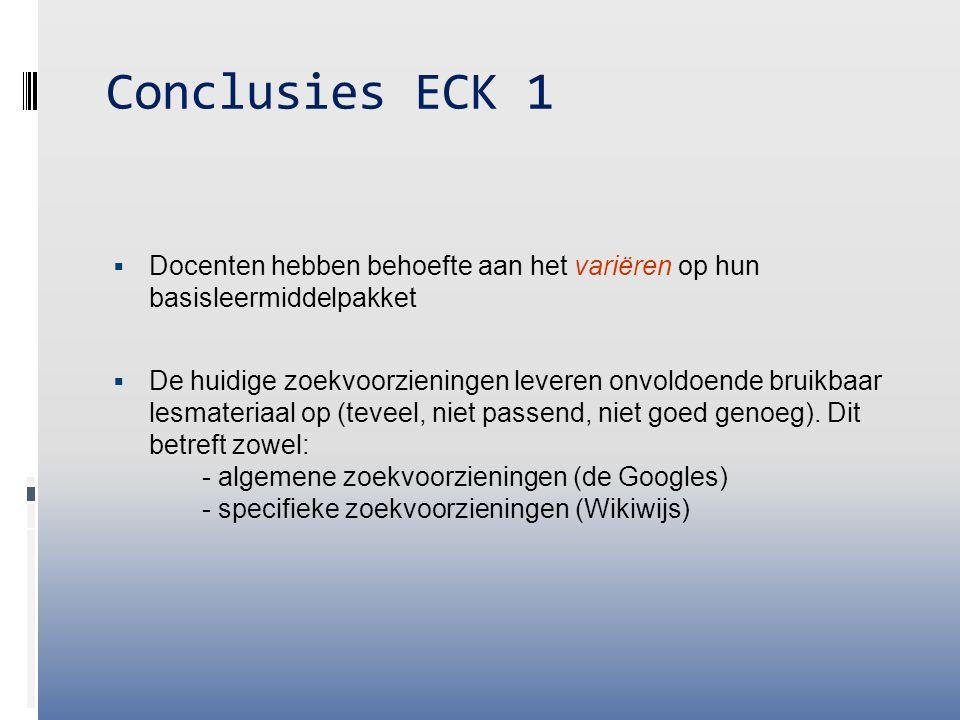 Conclusies ECK 1 Docenten hebben behoefte aan het variëren op hun basisleermiddelpakket.