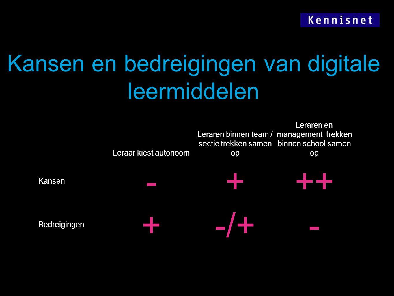 - + ++ -/+ Kansen en bedreigingen van digitale leermiddelen