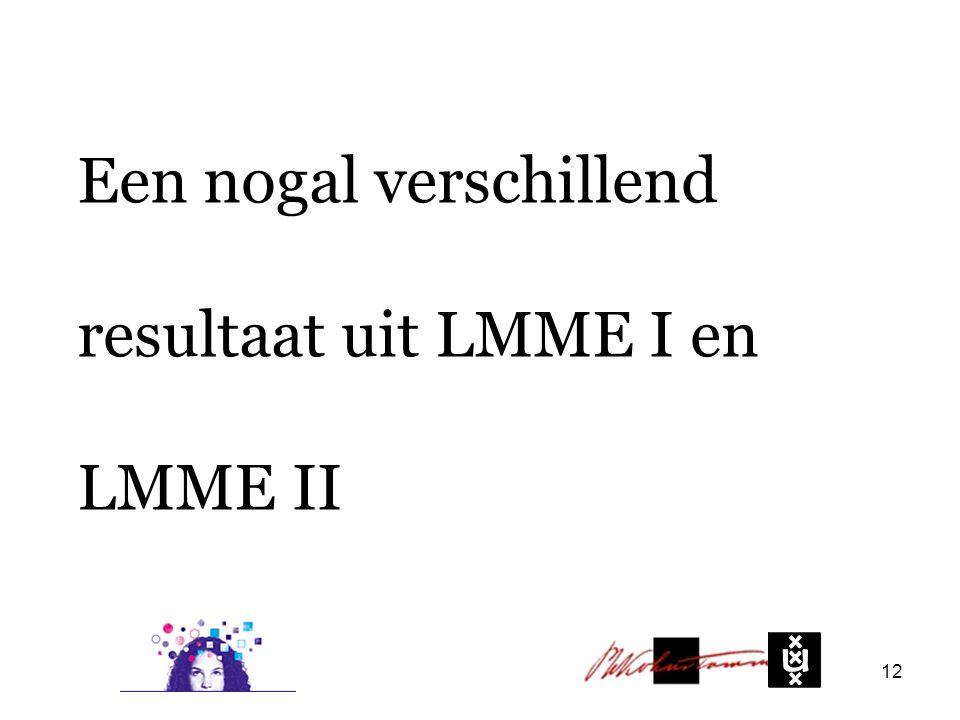 Een nogal verschillend resultaat uit LMME I en LMME II