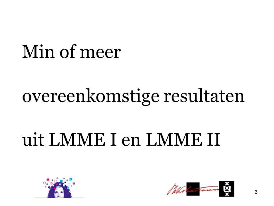 Min of meer overeenkomstige resultaten uit LMME I en LMME II