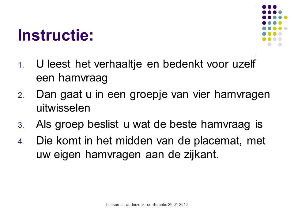 Lessen uit onderzoek, conferentie 28-01-2010