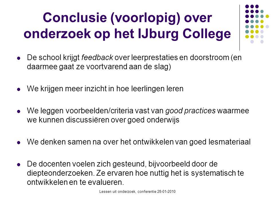 Conclusie (voorlopig) over onderzoek op het IJburg College