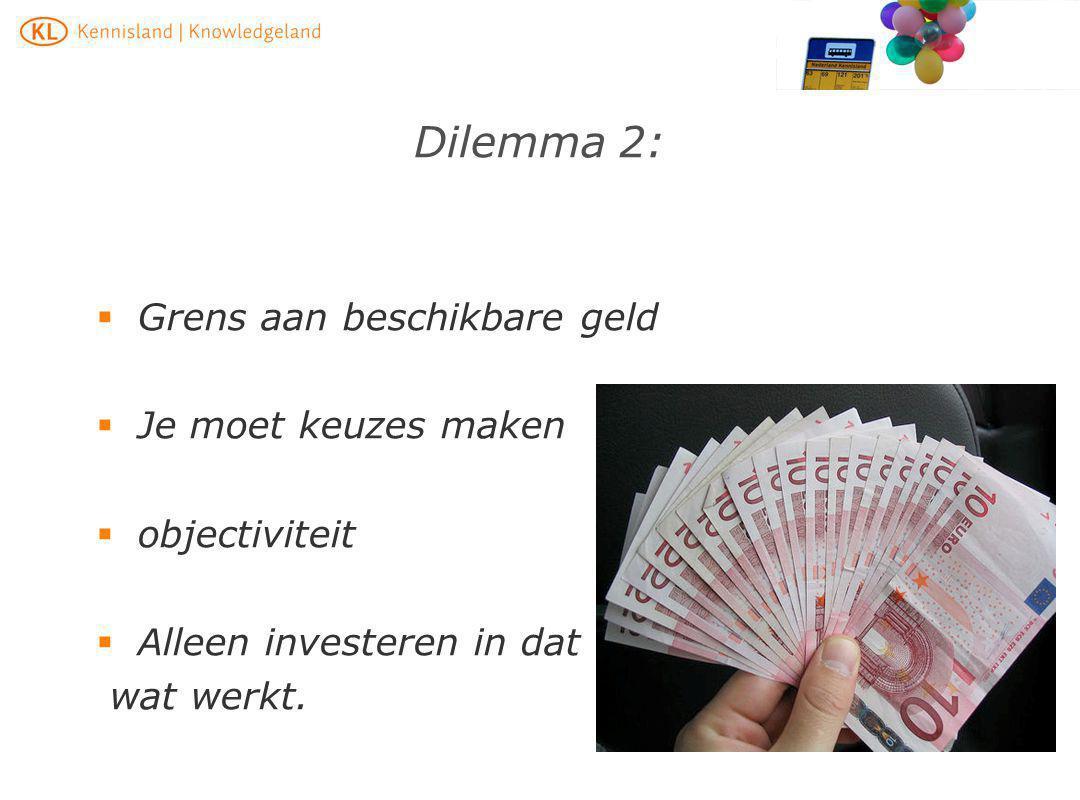 Dilemma 2: Grens aan beschikbare geld Je moet keuzes maken