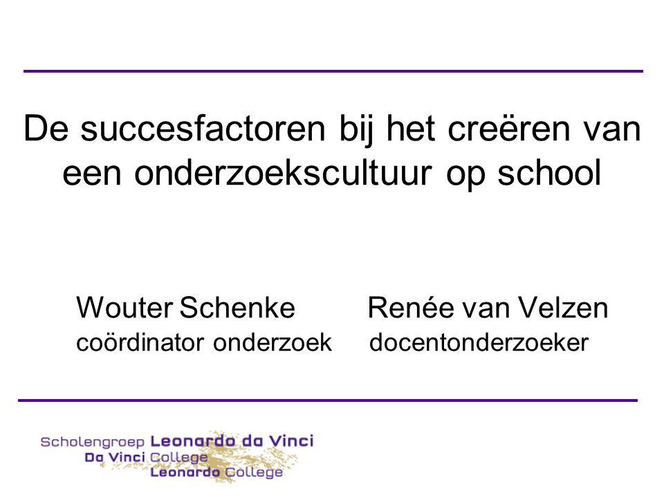 De succesfactoren bij het creëren van een onderzoekscultuur op school Wouter Schenke Renée van Velzen coördinator onderzoek docentonderzoeker
