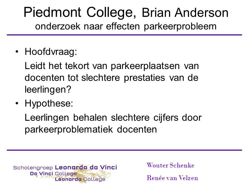 Piedmont College, Brian Anderson onderzoek naar effecten parkeerprobleem