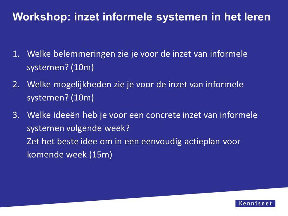 Workshop: inzet informele systemen in het leren