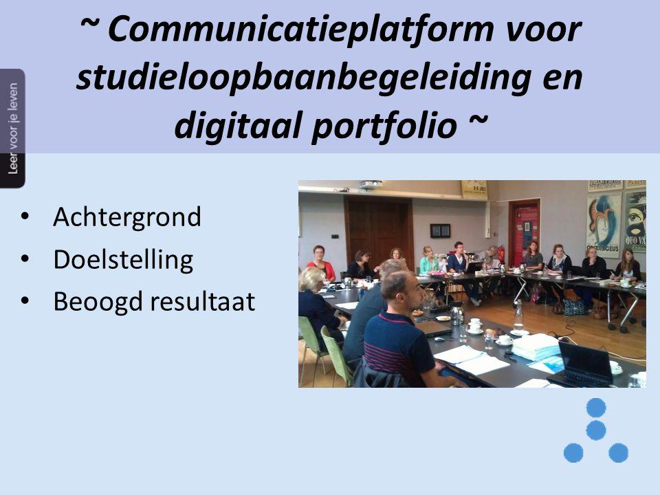 ~ Communicatieplatform voor studieloopbaanbegeleiding en