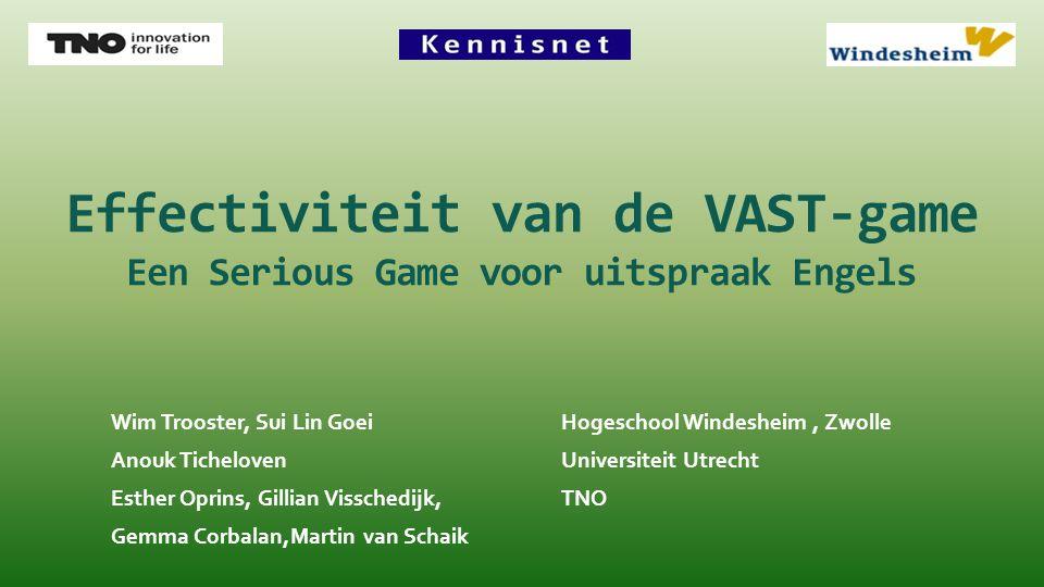 Effectiviteit van de VAST-game Een Serious Game voor uitspraak Engels