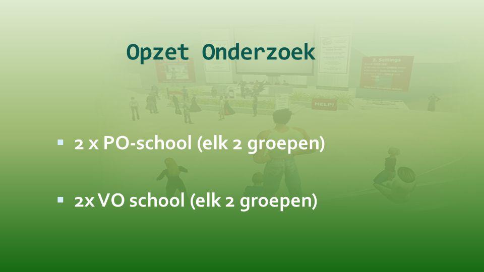 Opzet Onderzoek 2 x PO-school (elk 2 groepen)