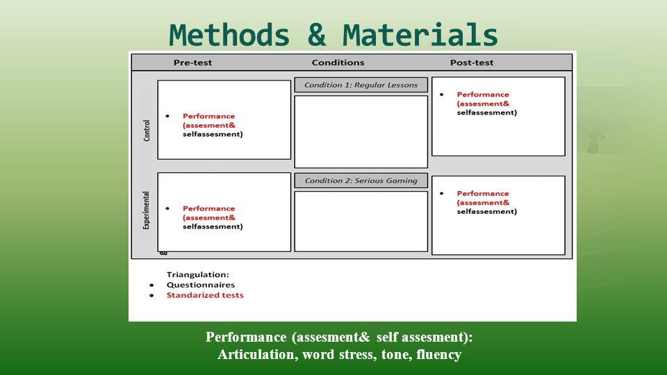 Methods & Materials Performance (assesment& self assesment):