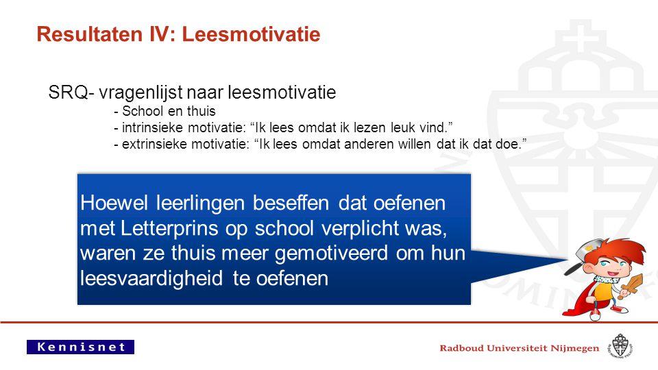 Resultaten IV: Leesmotivatie