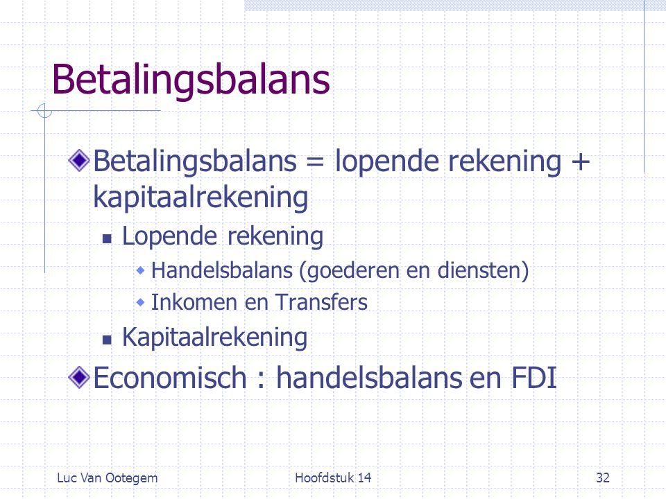 Betalingsbalans Betalingsbalans = lopende rekening + kapitaalrekening