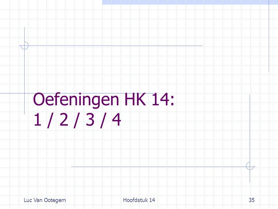 Oefeningen HK 14: 1 / 2 / 3 / 4 Luc Van Ootegem Hoofdstuk 14