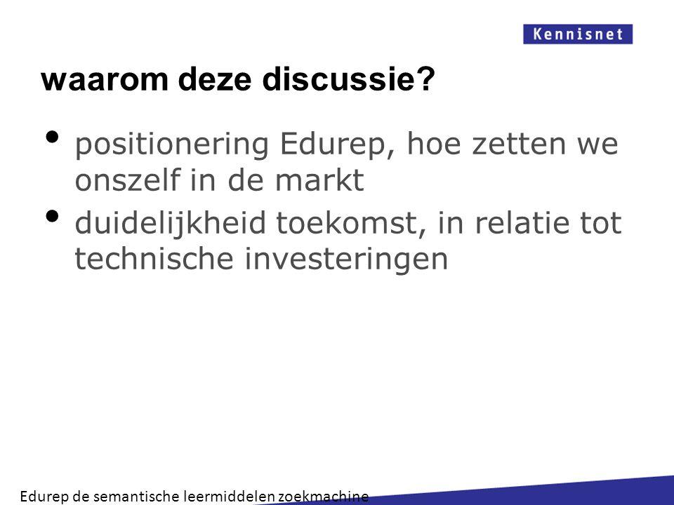 waarom deze discussie positionering Edurep, hoe zetten we onszelf in de markt. duidelijkheid toekomst, in relatie tot technische investeringen.