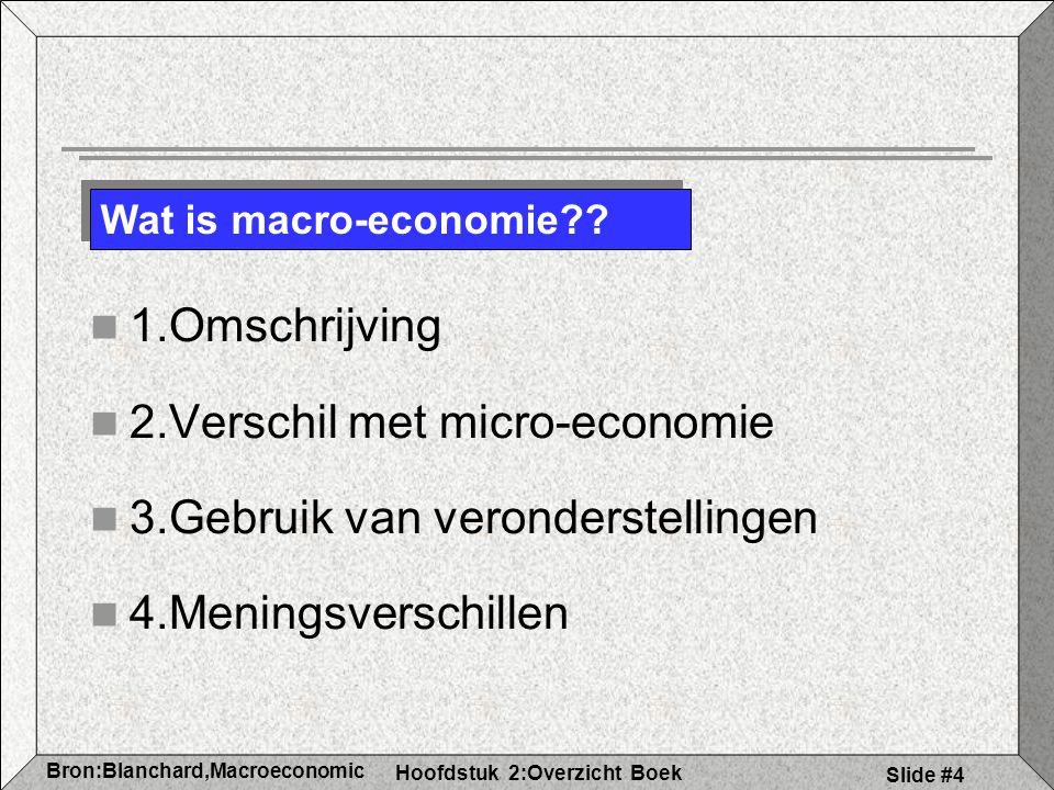 2.Verschil met micro-economie 3.Gebruik van veronderstellingen