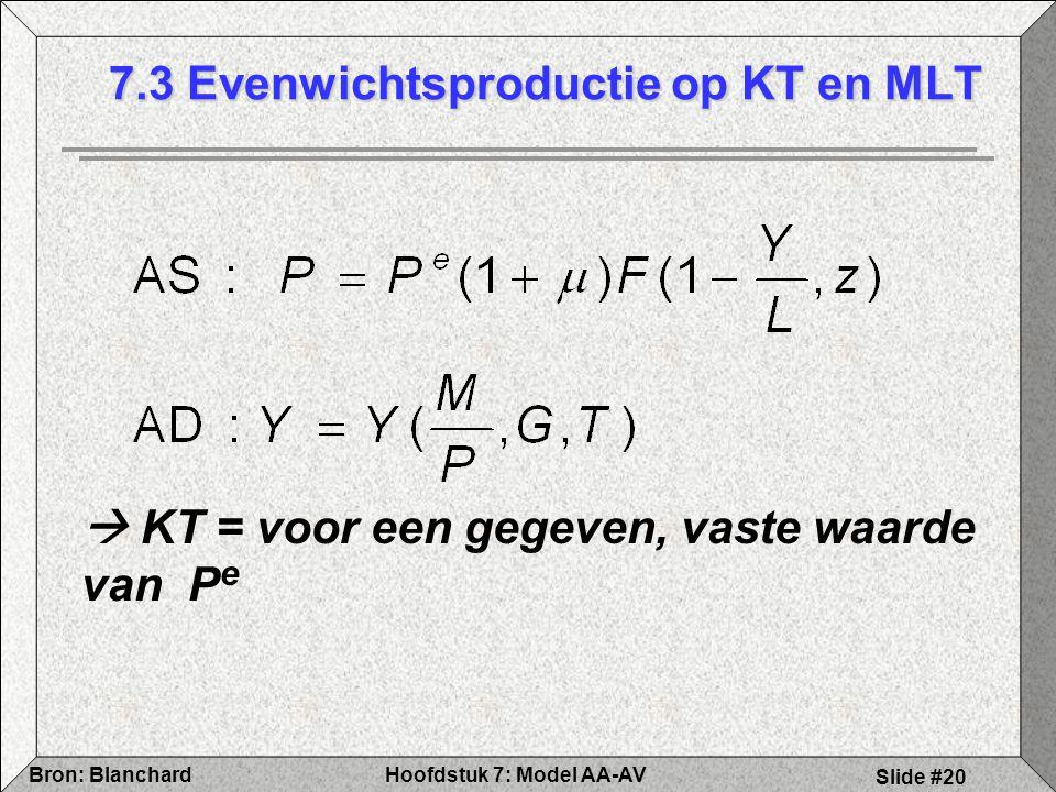 7.3 Evenwichtsproductie op KT en MLT