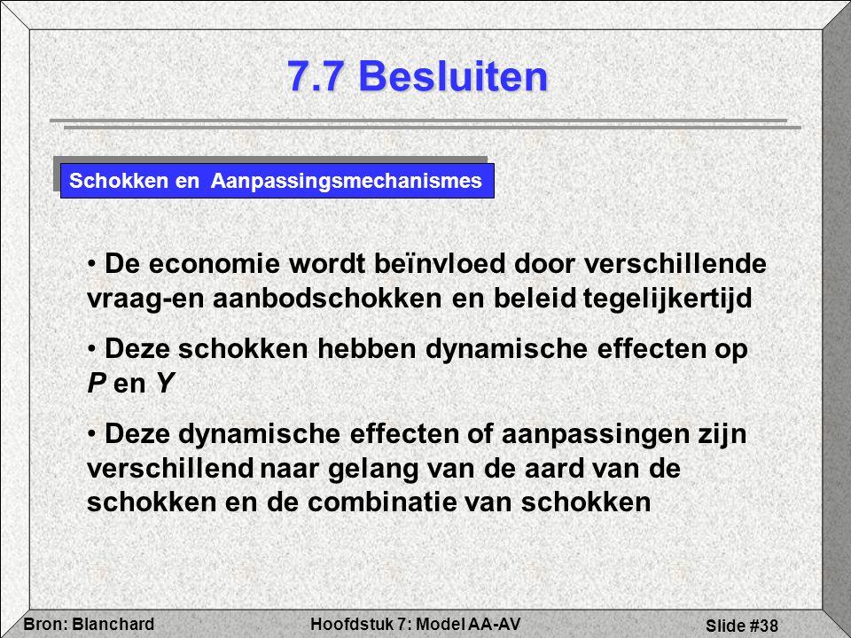 7.7 Besluiten Schokken en Aanpassingsmechanismes. De economie wordt beïnvloed door verschillende vraag-en aanbodschokken en beleid tegelijkertijd.