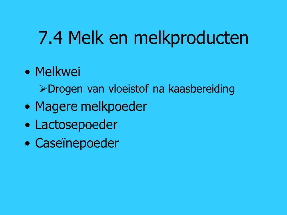 7.4 Melk en melkproducten Melkwei Magere melkpoeder Lactosepoeder