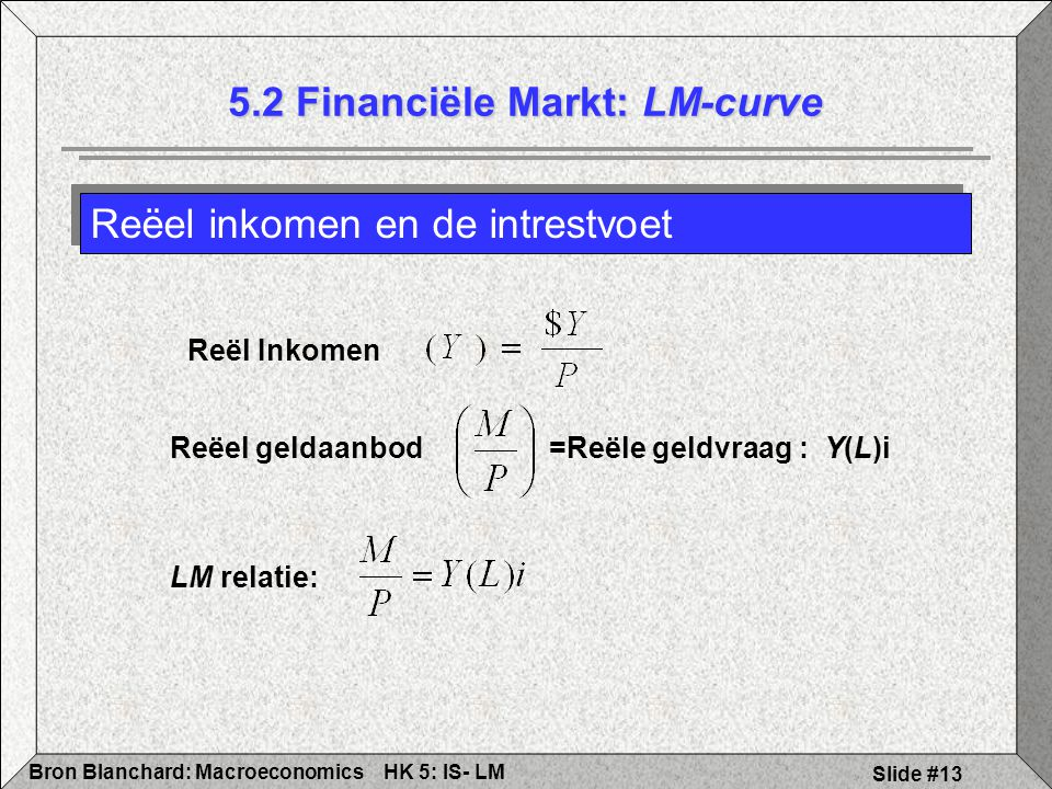 5.2 Financiële Markt: LM-curve