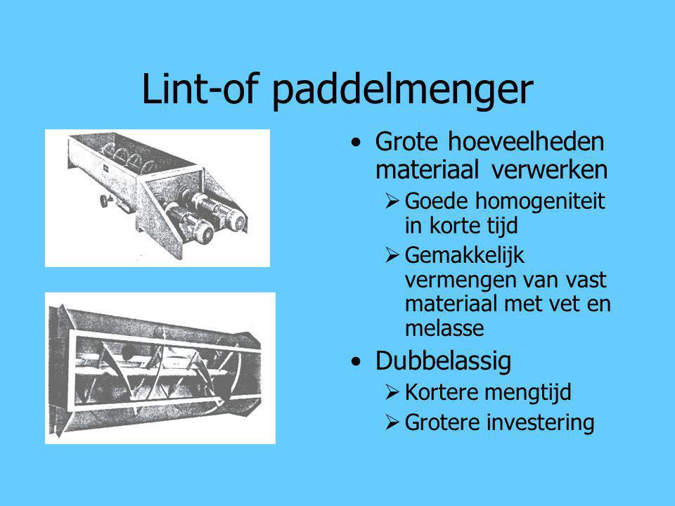 Lint-of paddelmenger Grote hoeveelheden materiaal verwerken