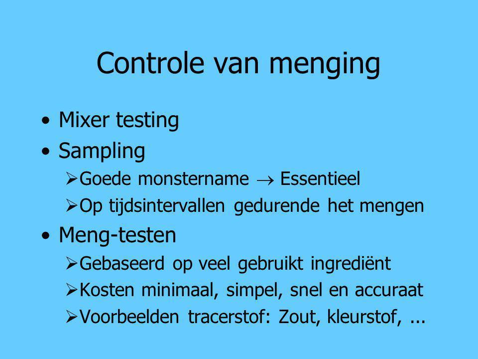 Controle van menging Mixer testing Sampling Meng-testen