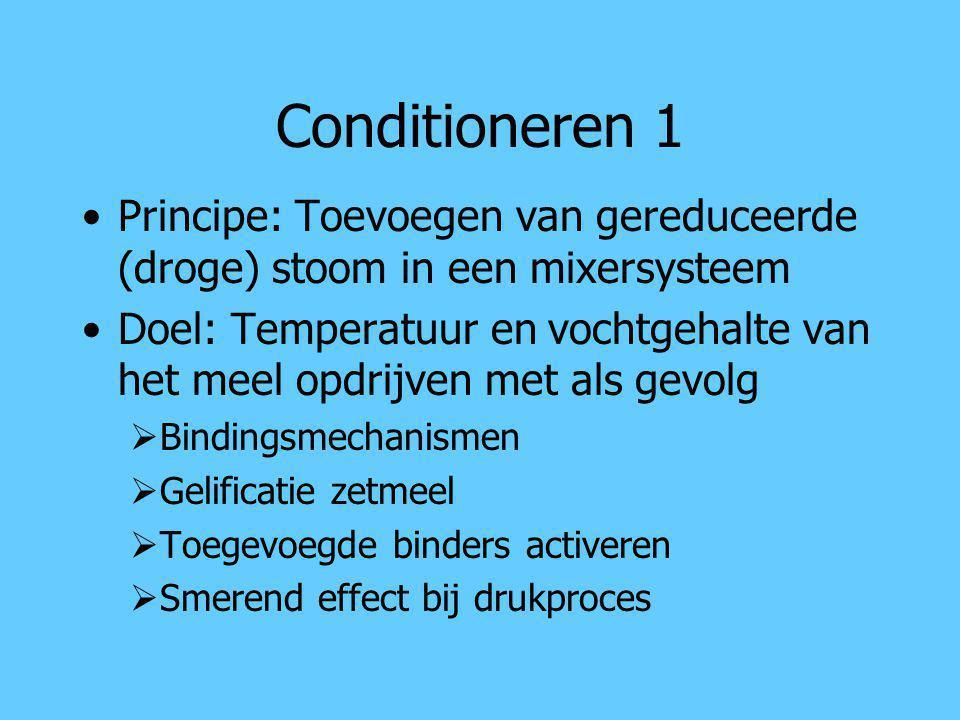 Conditioneren 1 Principe: Toevoegen van gereduceerde (droge) stoom in een mixersysteem.