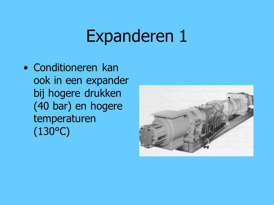 Expanderen 1 Conditioneren kan ook in een expander bij hogere drukken (40 bar) en hogere temperaturen (130°C)