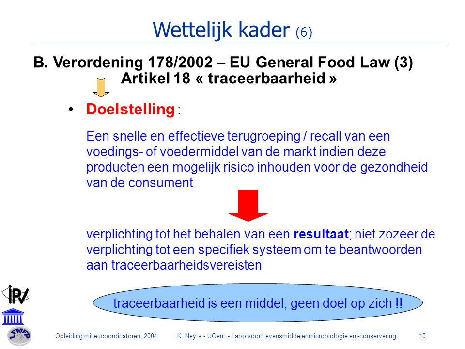 Wettelijk kader (6) B. Verordening 178/2002 – EU General Food Law (3)