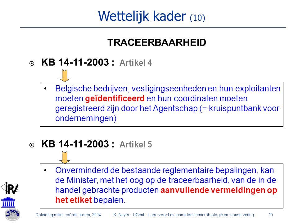 Wettelijk kader (10) TRACEERBAARHEID KB 14-11-2003 : Artikel 4