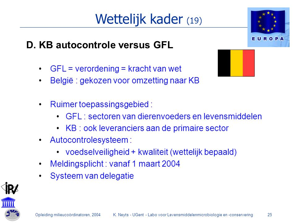 Wettelijk kader (19) D. KB autocontrole versus GFL