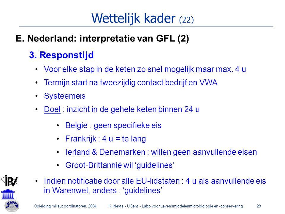 Wettelijk kader (22) E. Nederland: interpretatie van GFL (2)