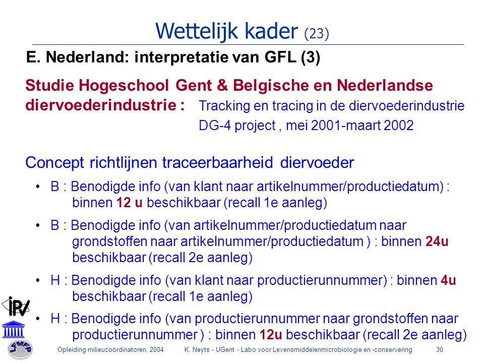 Wettelijk kader (23) E. Nederland: interpretatie van GFL (3)