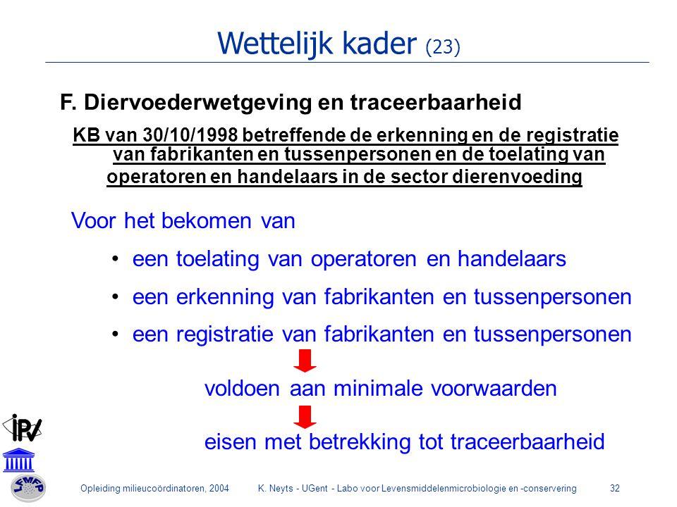 Wettelijk kader (23) F. Diervoederwetgeving en traceerbaarheid