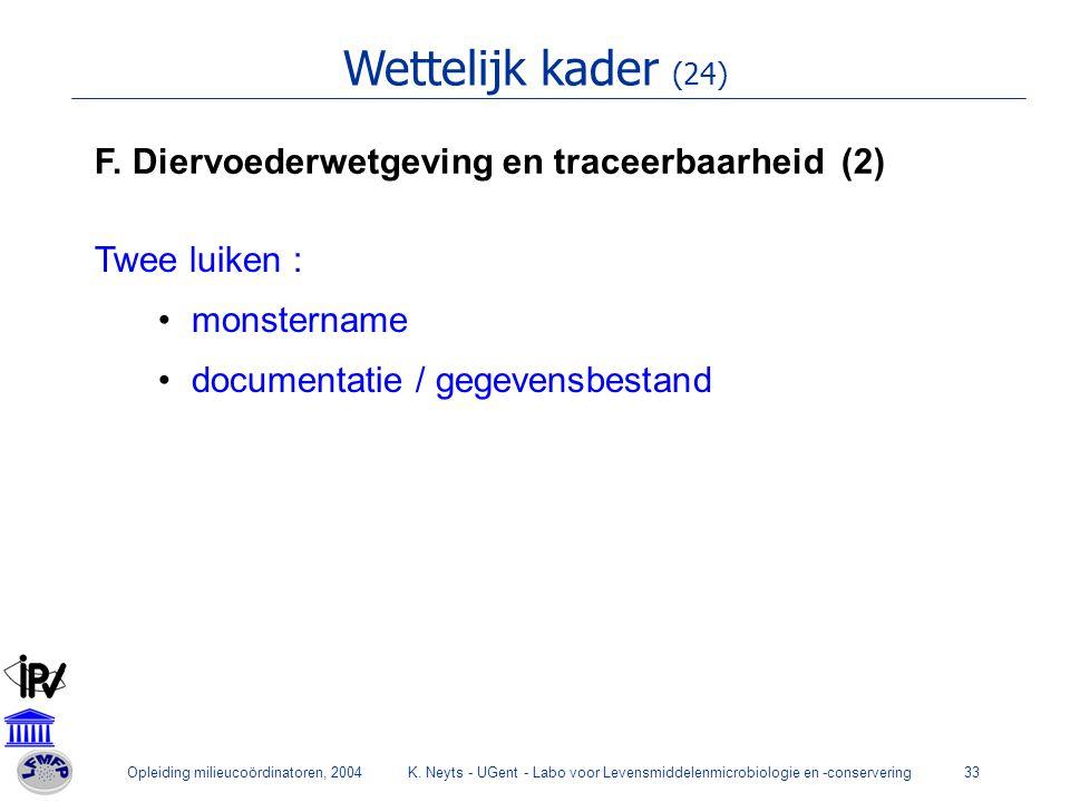 Wettelijk kader (24) F. Diervoederwetgeving en traceerbaarheid (2)