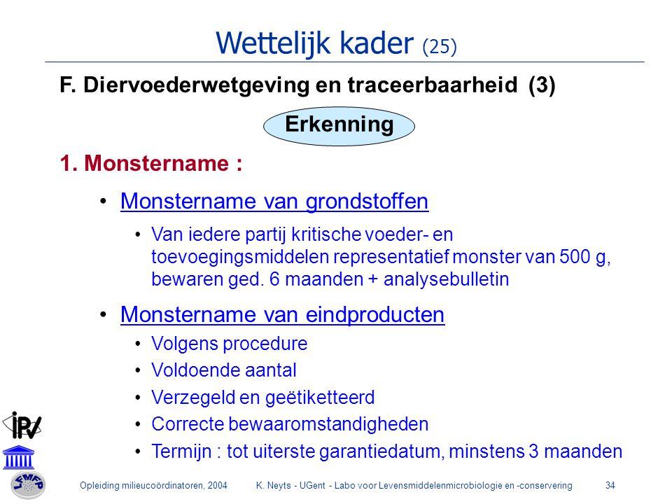Wettelijk kader (25) F. Diervoederwetgeving en traceerbaarheid (3)