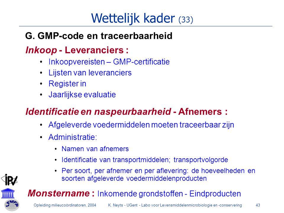 Wettelijk kader (33) G. GMP-code en traceerbaarheid