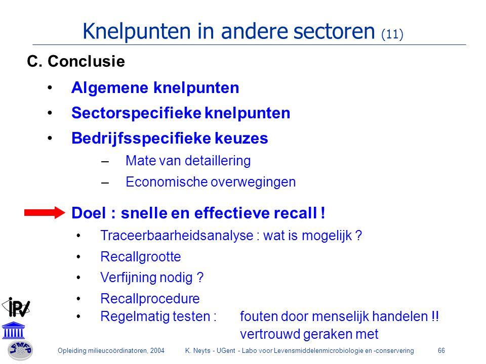 Knelpunten in andere sectoren (11)