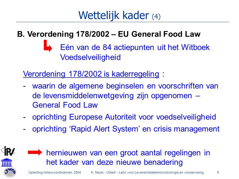 Wettelijk kader (4) B. Verordening 178/2002 – EU General Food Law. Eén van de 84 actiepunten uit het Witboek Voedselveiligheid.