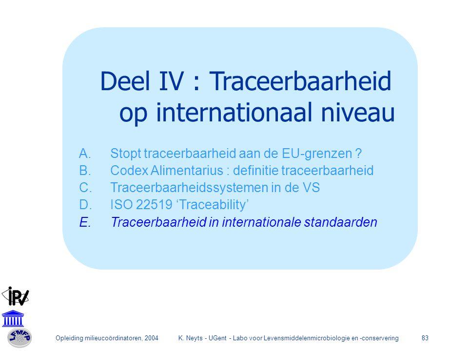 Deel IV : Traceerbaarheid op internationaal niveau