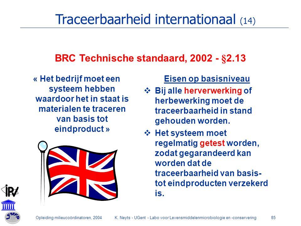 BRC Technische standaard, 2002 - §2.13
