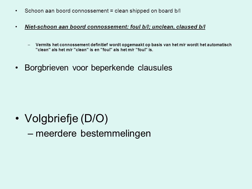 Volgbriefje (D/O) meerdere bestemmelingen