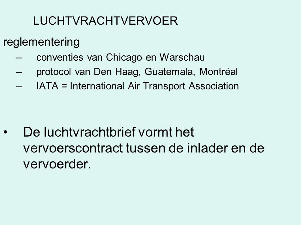 LUCHTVRACHTVERVOER reglementering. conventies van Chicago en Warschau. protocol van Den Haag, Guatemala, Montréal.