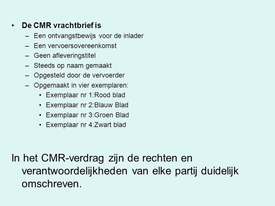 De CMR vrachtbrief is Een ontvangstbewijs voor de inlader. Een vervoersovereenkomst. Geen afleveringstitel.