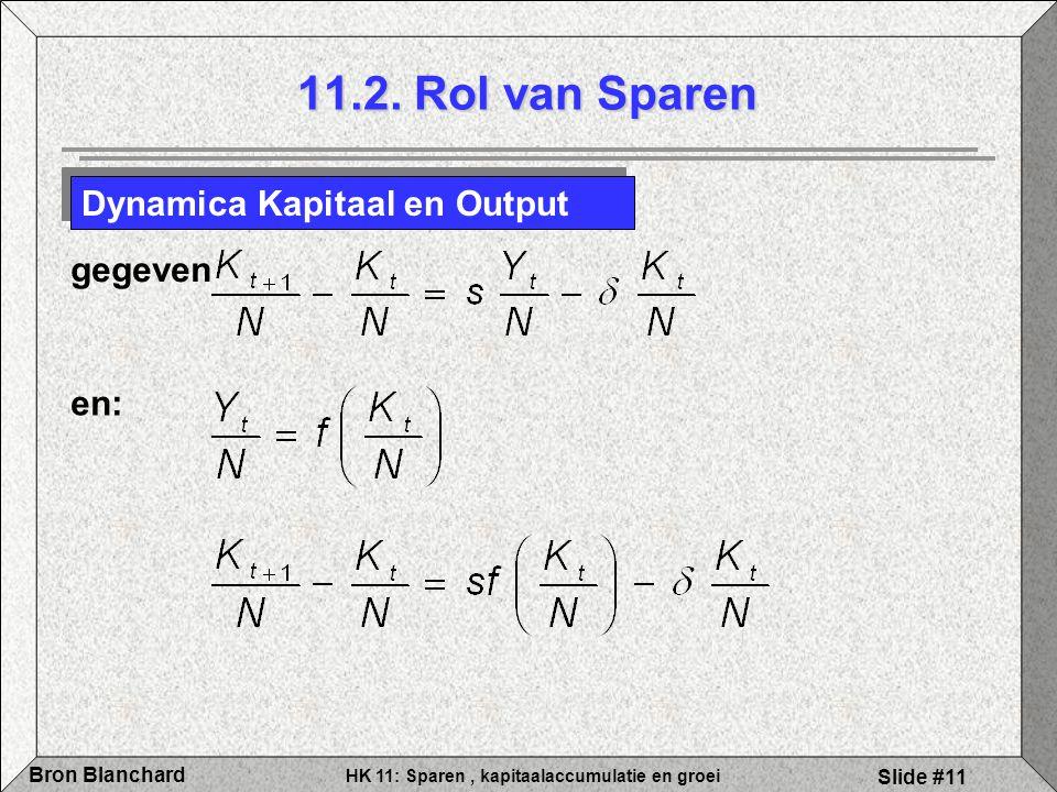 11.2. Rol van Sparen Dynamica Kapitaal en Output gegeven en: