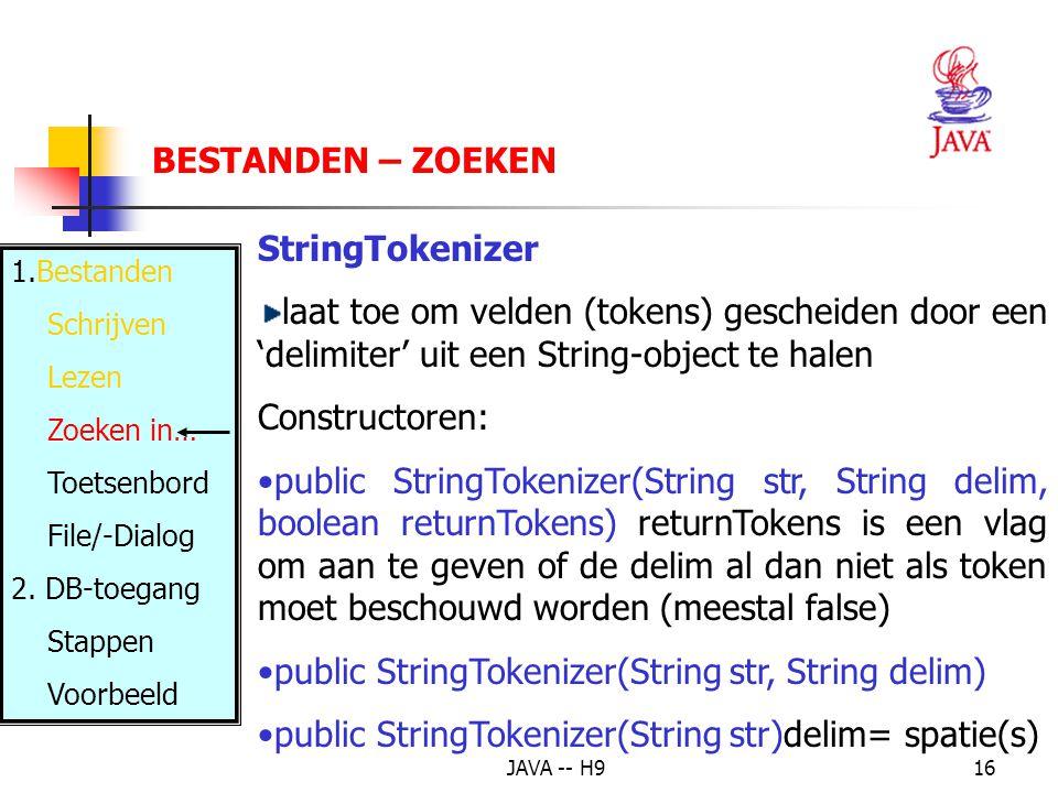 public StringTokenizer(String str, String delim)