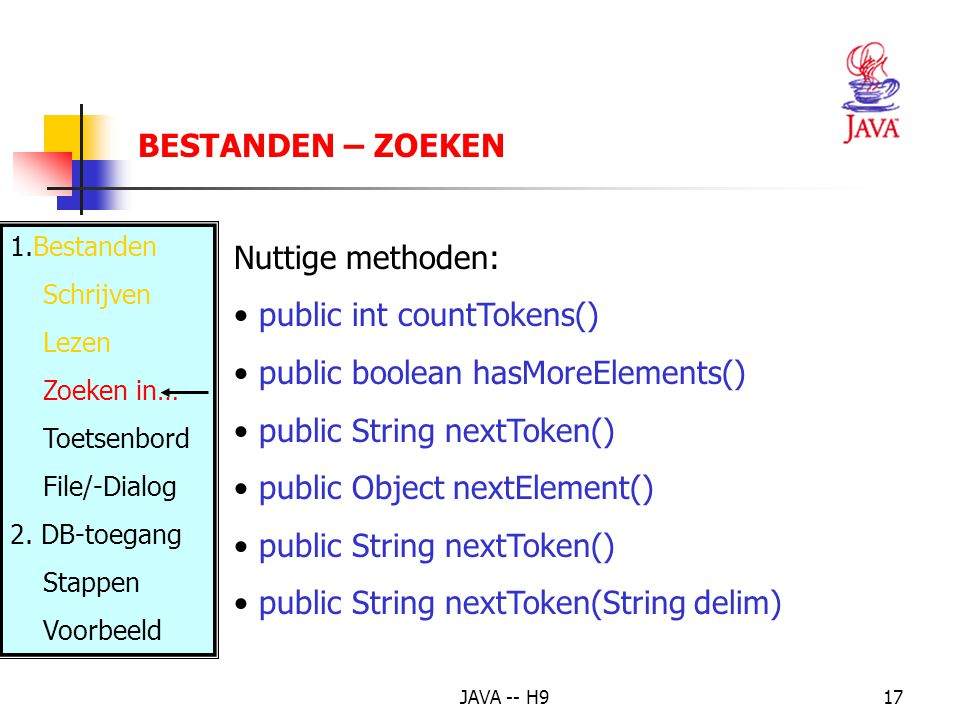 public int countTokens() public boolean hasMoreElements()