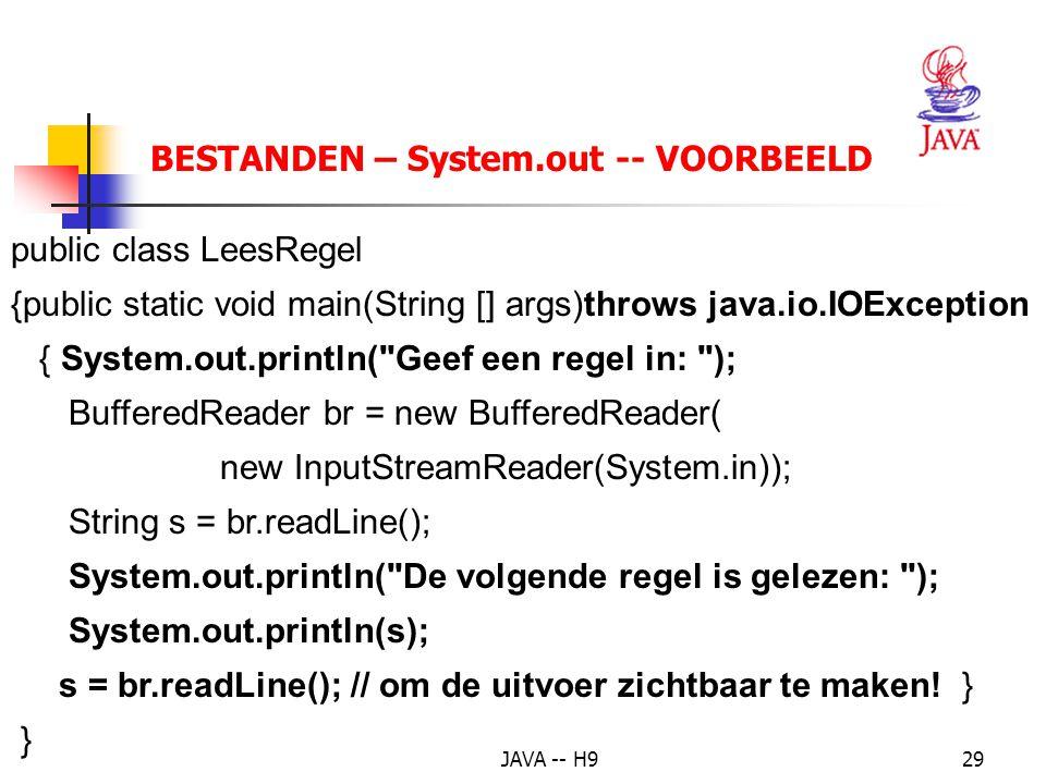 BESTANDEN – System.out -- VOORBEELD