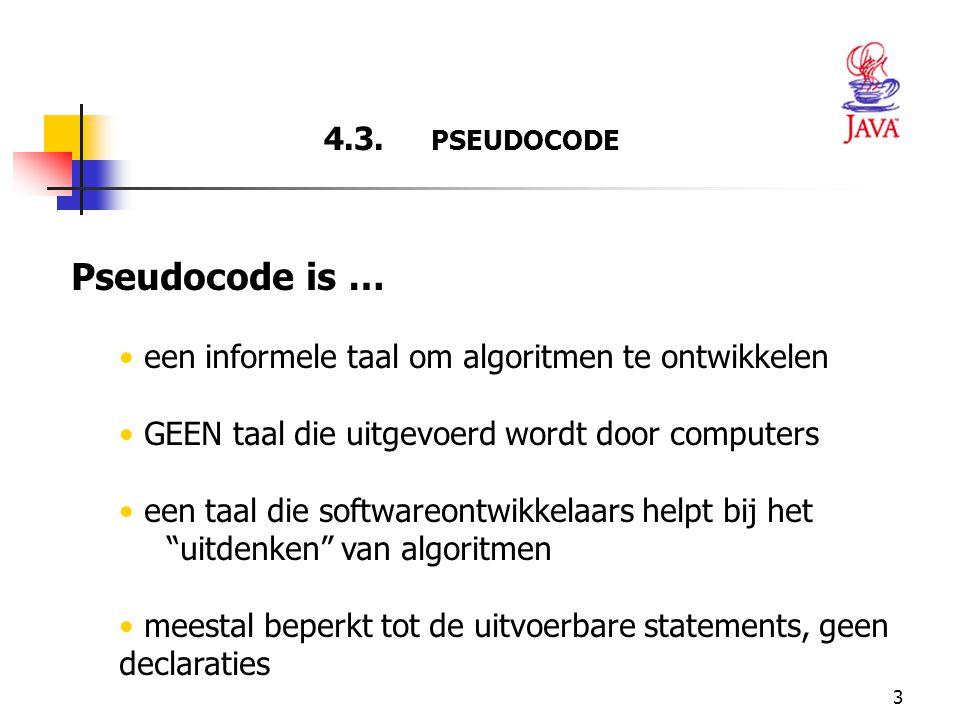 Pseudocode is … 4.3. PSEUDOCODE