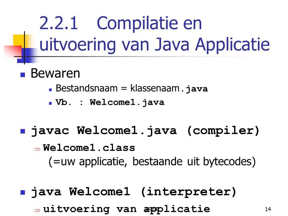 2.2.1 Compilatie en uitvoering van Java Applicatie